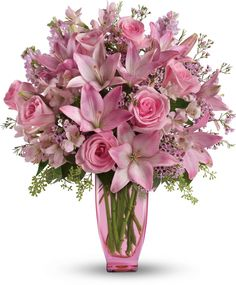 Teleflora's Pink Pink Bouquet with Pink Roses (jade brown ivory)