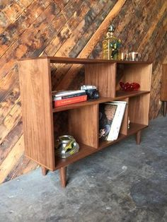 Custom Mid Century Style Walnut Book Record Shelfperfect for books or recordsL:48 D:12 H:32