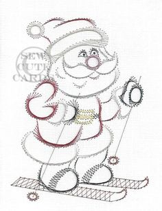 Skiing Santa as a Christmas Greeting Card