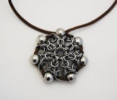 Sunflower chainmail pendant by Miralgaar on Etsy