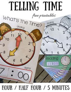 Interactive analog and digital clocks for telling time! Awesome math center or telling time game. Free printable clocks and telling time cards.