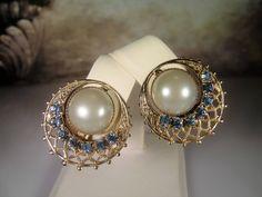 Clip On Earrings, Pearl Clip-On Earrings, Capri Blue Rhinestone Earrings, Pearl & Rhinestone Earrings, Bridal Earrings, Vintage Earrings by CarolsVintageJewelry on Etsy