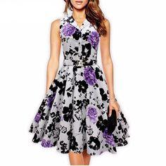ba735bcec5 Cotton Ladies Retro Vintage Dress Floral Print. Vestidos ...