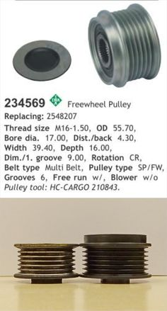 1985.5+ Porsche 944/968 freewheel alternator pulley.  Stock left, freewheel right  The 234569 is the same as the very common LUK or INA 535006010 pulley.