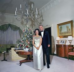 West Sitting Hall. White House. The Johnsons at Christmastime in 1965
