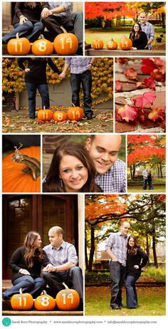 Fun engagement session theme for a fall wedding the following year! Rich colors and pumpkins! Perfect for a Save the Date card!