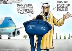Apology Tour 2.0, continuing to lead from behind around the world. Political cartoon by A.F. Branco ©2016