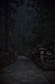 Approach to a shrine, holy city of Shingon esoteric Buddhism. Japan 高野山 by バライタ Dark Green Aesthetic, Nature Aesthetic, Paradis Sombre, Slytherin Aesthetic, Dark Paradise, Princess Aesthetic, Dark Photography, Aesthetic Pictures, Aesthetic Wallpapers