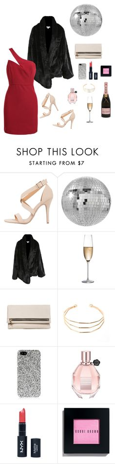 """Kiss Me Under the Discoball"" by shop2020ave ❤ liked on Polyvore featuring CB2, Rogaska, Yves Saint Laurent, Viktor & Rolf, NYX, Bobbi Brown Cosmetics, NewYears, ootd and reddress"