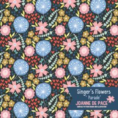Joanne de Pace - Singer's Flowers - Parade | The Ultimate Portfolio Builder | September 2015 class | Student Pattern Design Showcase | The Art and Business of Surface Pattern Design | Make it in Design | www.makeitindesign.com