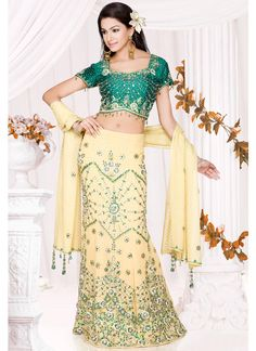 Yellow and Green Lehenga Choli Choli Designs, Blouse Designs, Dress Designs, Indian Outfits, Indian Clothes, Green Lehenga, Ghagra Choli, Indian Couture, Festival Wear