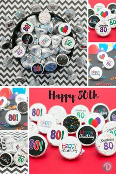 Includes 9 different 80th Birthday themed stickers that are simple to use for your party or celebration. Each sticker fits perfectly on the bottom of Hershey Kisses making great table decorations or favors.