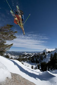 """Skiing with Lake Tahoe in the background. So many ski resorts to choose from in both North and South Lake Tahoe that you'll never be """"board"""" with the terrain!"""