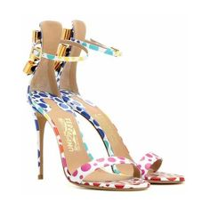Sandali Angie in vernice con decorazione ($775) ❤ liked on Polyvore featuring shoes, multicolor shoes, salvatore ferragamo, multi color shoes, retro shoes and multi colored shoes