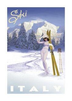 Vintage travel poster, ski italy