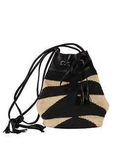 Shigra Zebra Sisal and Leather Backpack   Lord and Taylor