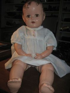 ANTIQUE-Ideal-1945-BABY-BEAUTIFUL-MIRACLE-ON-34TH-STREET-COMPOSITION-DOLL-22-034