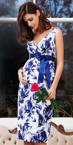 Riviera Maternity Dress (Orient Blue) - Maternity Wedding Dresses, Evening Wear and Party Clothes by Tiffany Rose