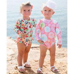 13f2b0b873 Ruffle butts Tropical Garden One Piece Rash Guard - has snaps- so  practical! Kids
