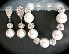 Chunky pearl bracelet and earring set ~ Swarovski pearls and crystal rhinestone balls - Brides pearl set - Bridesmaids ~ Best seller ~LOLITA