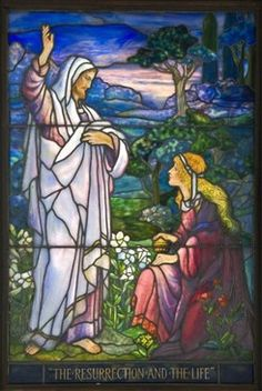 Stained Glass; Tiffany Studios, Window, The Resurrection and the Life, 66 inch.