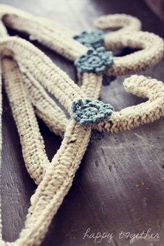 crochet hangers,,, pretty. We used to have all our hangers done pretty we are going to do it again