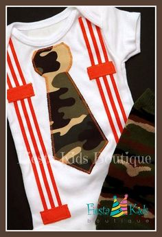 Baby boy, tie and suspenders bodysuit, coming home outfit, camo and orange on Etsy, $22.00