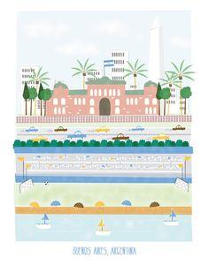 #flat #design #poster: Buenos Aires Argentina - 11x14 print - city illustration poster wall decor children nursery art