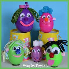 left over plastic eggs craft