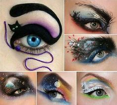 A variety of cool Halloween eye make-up ideas....