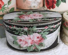 1940's Vintage Wallpaper Bandbox- Vanity Box