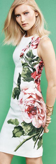 "Carolina Herrera rose-print pique dress. Approx. length: 37""L down center back. Jewel neckline. Sleeveless; moderate shoulder coverage. Fitted silhouette. Straight hem. Hidden back zip. Cotton/spandex"