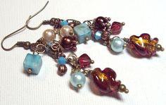 Earrings Aqua Turquoise Copper Brass Glass Pearl Swarovski ...