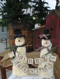 Delbert and Elbert   the Rustic Snowmen Brothers   by ShabbyChicRose on ETSY