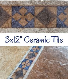 "Antigua Border 3x12"" Listello - $4.50 each Glazed ceramic listello with a terracotta and blue design. Use it between your wall tiles as a decorative border. Floor use in low-traffic residential installations only. Actual dimensions: 2-7/8"" tall x 11-7/8"" wide x 5/16"" thick Need 50 or more? Contact us for bulk pricing. Vanity Backsplash, Kitchen Backsplash, Tile Fireplace, Decorative Borders, Vintage Bathrooms, Color Tile, Glazed Ceramic, Blue Design, Tile Patterns"