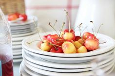 French Larkspur: Rainier Cherries A Summertime Treat Great Recipes, Whole Food Recipes, Favorite Recipes, Rainier Cherries, Sparkling Lemonade, Vintage Vignettes, Old Pottery, Summer Treats, Summer Time