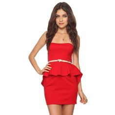 """Sweetheart High Low Hi Lo Asymmetric Peplum Dress A strapless ponte knit dress featuring a sweetheart neckline and high-low peplum skirt. Boning at the bodice. Hook-eye and zipper closure in back. Medium weight. Knit. Partially lined.  DETAILS:  - 25"""" approx length from bust to hem, 30"""" chest, 27"""" waist - Shell: 84% polyester, 11% rayon, 5% spandex; lining: 100% polyester Forever 21 Dresses Strapless"""