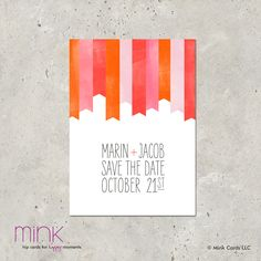 """save the date photo card - """"Watercolor Flags"""". $64.00, via Etsy."""