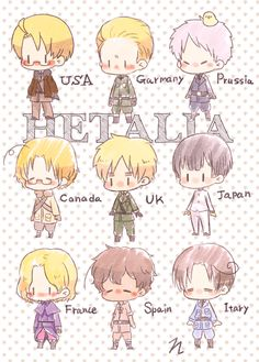 Hetalia - America / Germany / Prussia / Canada / England / Japan / France / Spain / Italy