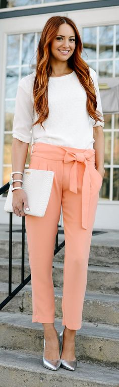 Coral Pants Outfit Idea by LITTLE J STYLE