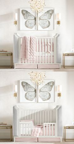 Upholstered sides, winged corners and wood molding. A neoclassical-inspired nest for your wee one.