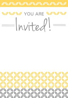 Yellow Ornaments - Free Printable Party Invitation Template | Greetings Island