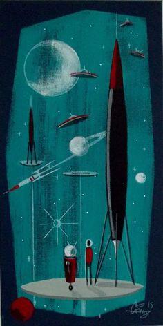 EL GATO GOMEZ PAINTING RETRO SCI-FI SPACE SHIP ROCKET ROBOT SPACEMAN MARS 1950S #Modernism