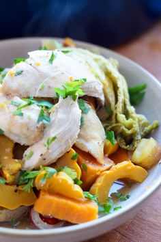 Chicken Pot au Feu sounds fancy, but it's really just an easy, fantastic chicken stew with apples and sweet potatoes. Ideal for Phase 1 of the #FastMetabolismDiet