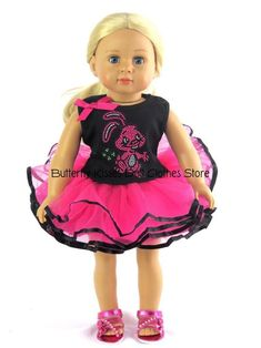 """Easter Bunny Tutu Dress Fits 18/"""" American Girl Doll Clothes"""