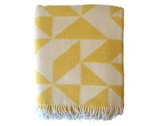 I love this yellow geometric wool blanket