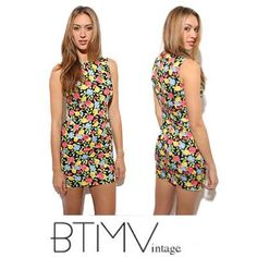 90s FRUITS & FLOWERS mini dress roses lemons by BTMVintage on Etsy, $87.00