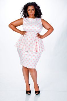 JIBRI Plus Size Polka Dot Peplum Dress