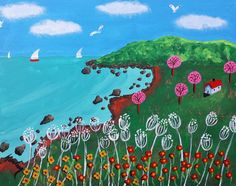 Rocy Beach is 11x14 inch is an acrylic painting done on canvas panel.  It's colorful and bright with trees and flowers and a hill in the background.  The boats are sailing and the birds are flying high.  If you're looking for a painting that's colorful and happy to brighten up your wall in your home or office, this is the painting for you! $50.00 FREE SHIPPING IF IN THE USA!!