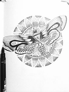 Moth with mandala flower, dot work tattoo